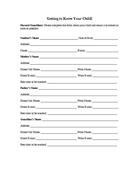 personal information form template word family information form template education world