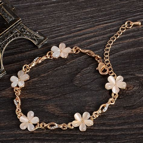 discount for jewelry 18k gold plated chain bracelet charms flower gem bracelets