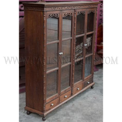 antique display cabinets with glass doors antique teak display cabinet with drawers and