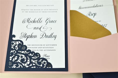 lace wedding invitations with pockets lace laser cut wedding invitation cards pockets design