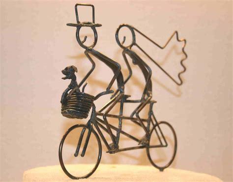 Bride and Groom Tandem With Dog in Basket   Wedding bike