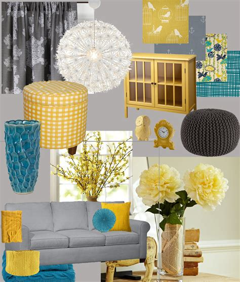 teal yellow gray living room hello imagination living room design board