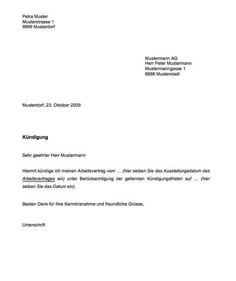 Vorlage Kã Ndigung Arbeitsvertrag Vorlage K 252 Ndigung Muster Und Vorlagen Kostenlos