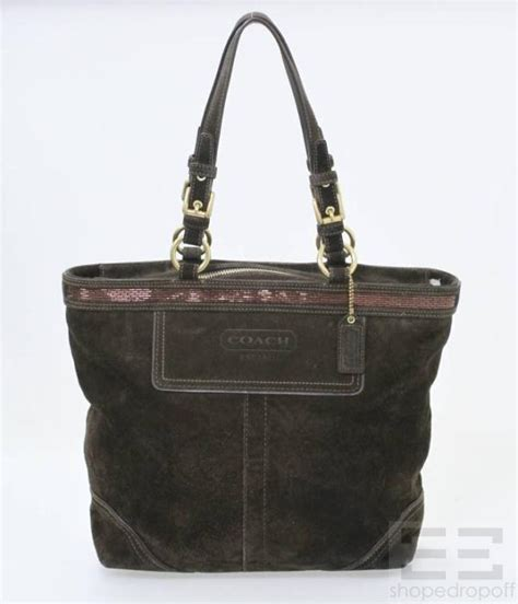 Coach Suede Signature by Coach Brown Suede Beaded Tote Bag Ebay