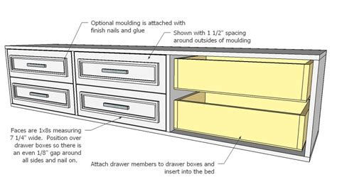 Bed Plans With Drawers by White Fillman Storage Bed With Drawers Diy Projects
