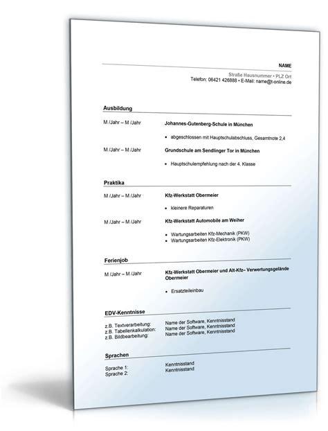 Lebenslauf Vorlage Fã R Ausbildung Lebenslauf Ausbildung Kfz Mechatroniker Muster Zum