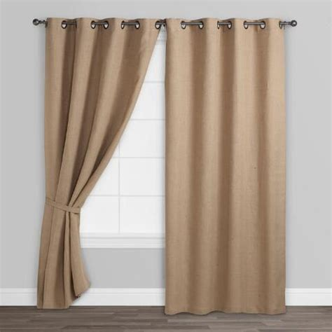 hemp curtains hemp burlap grommet top curtains set of 2 world market
