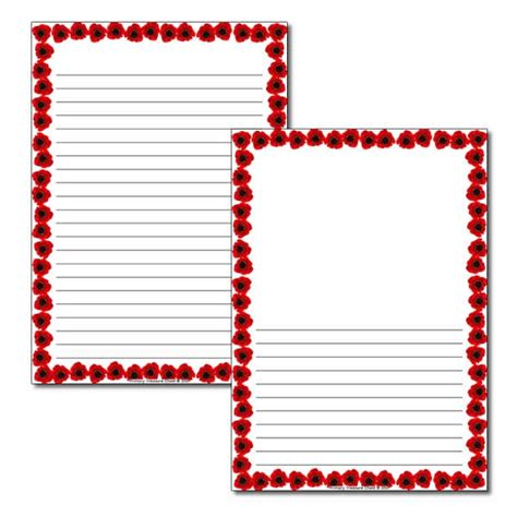 lined paper with poppy border poppy themed page border narrow lines primary treasure