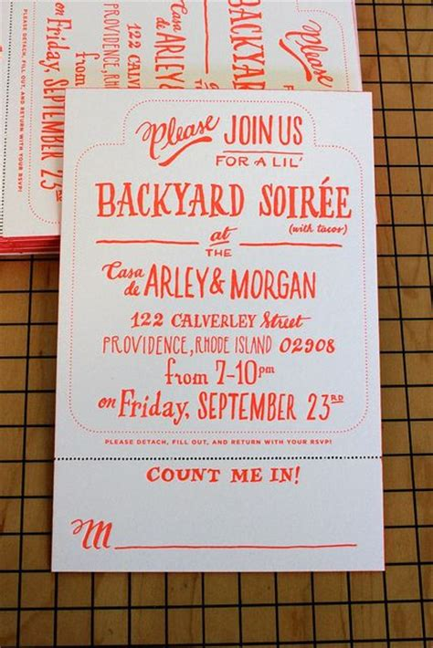 Backyard Bbq Wedding Invitation Wording Backyard Soir 233 E Handdrawn Letterpress Invitation