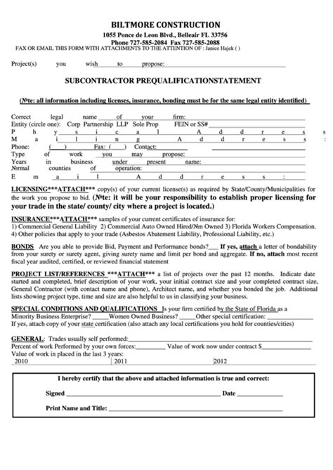 Subcontractor Prequalification Statement Form Printable Pdf Download Subcontractor Prequalification Form Template