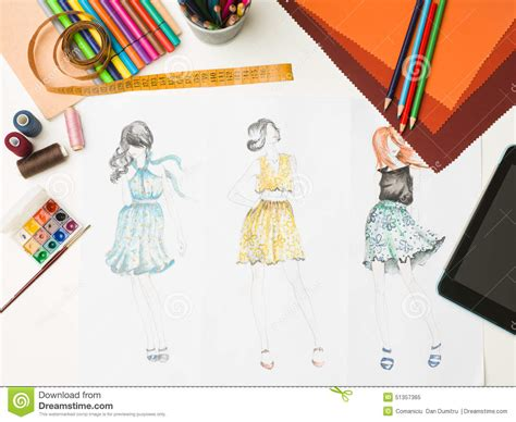 fashion design equipment list fashion designer workspace stock illustration
