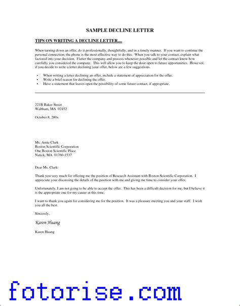 Decline Coverage Letter Letter Of Experience Car Insurance Template Fotorise
