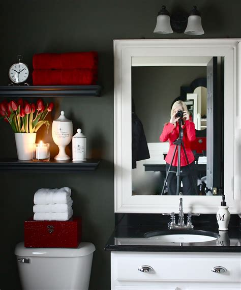 grey and red bathroom the yellow cape cod my powder room makeover reveal and a