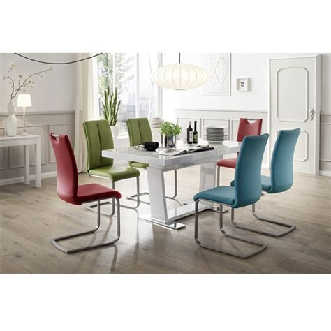 manhattan glass dining table in high gloss with 6 paulo