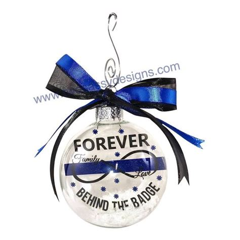 christmas present for cops officer ornament thin blue line ornament
