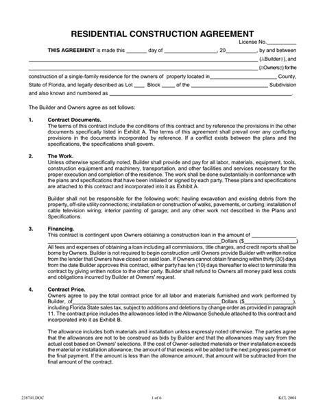 Residential Construction Agreement In Word And Pdf Formats Construction Contract Template