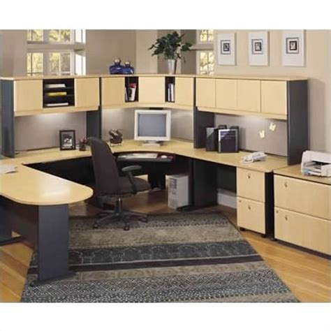 bush bbf series a 5 piece u shape corner desk set in beech