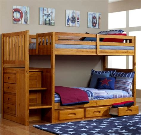 Childrens Wooden Bunk Beds New Bedroom Furniture Wood Bunk Bed Staircase Wooden Honey Finish Bunkbed Ebay