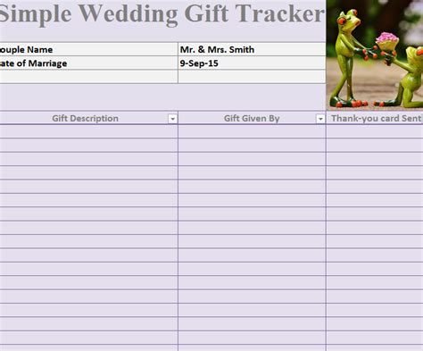 wedding shower gift list template wedding gift tracker template gift ftempo