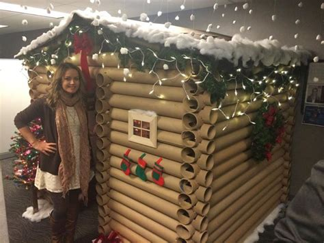 twelve days of christmas cubicle transforms office cubicle into a cabin aol news