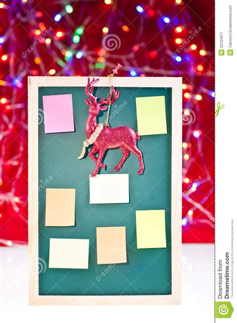christmas board decoration notice board with reindeer decoration stock image image 22131877