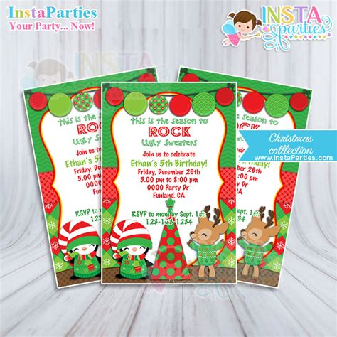 ugly sweater invitations christmas party