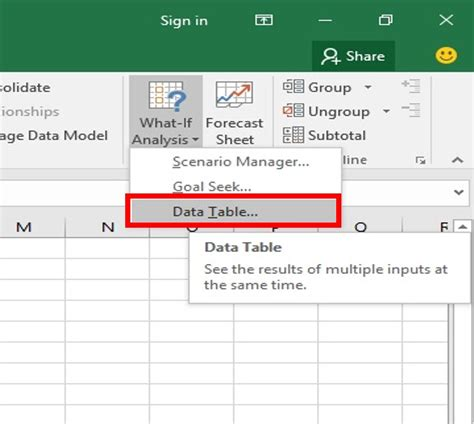 what if analysis data table learn one variable data table two variable data table