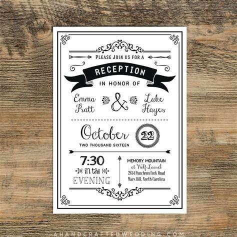 Reception Wedding Invitations by Black Diy Reception Only Invitation Ahandcraftedwedding