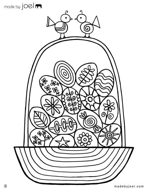 coloring page easter basket with eggs free coloring pages of joel