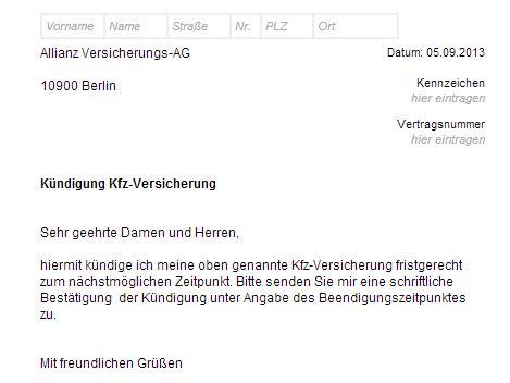 Sparkasse Motorradversicherung by Allianz Kfz Versicherung K 252 Ndigung Vorlage Chip