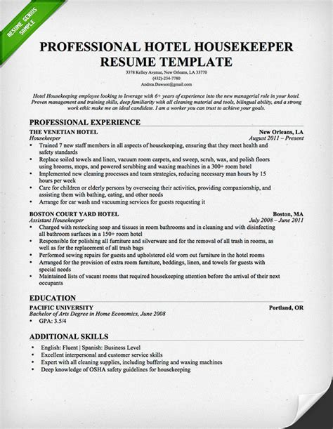 House Cleaninc Resume Builder Housekeeping Cleaning Resume Sle Resume Genius