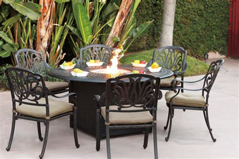 "Patio Furniture Dining Set Cast Aluminum 60"" Round Propane"