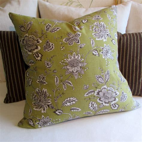 Country Pillows by Country Floral Green Brown Decorative Pillow Cover