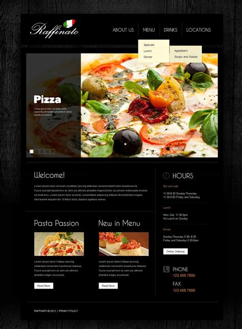 Italian Restaurant Responsive Website Template 39458 Restaurant Website Template