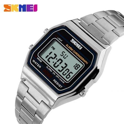skmei jam tangan digital pria dg1123 silver