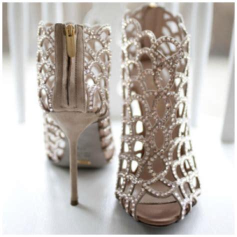 the pair of bridal shoes wedding fashion