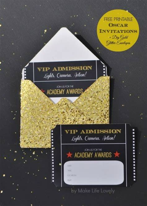 oscar invitation template free printable oscar invitations diy gold glitter