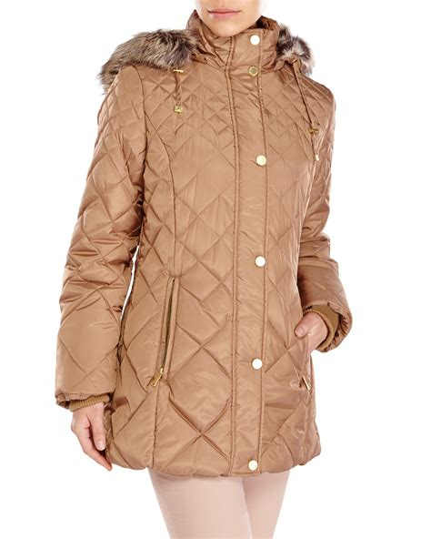 Quilted Fur Coat by Fog Faux Fur Trim Quilted Coat In Brown Lyst