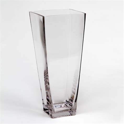 Square Clear Vases by Sale Clear Glass Taper Square Vase H 16 Quot Open 6 5 Quot Lot