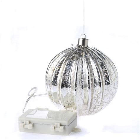 silver mercury glass battery operated ball ornament light