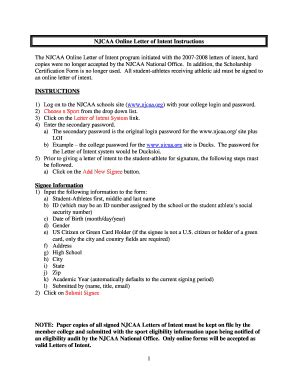 Letter Of Intent Njcaa Letter Of Intent Template Forms Fillable Printable Sles For Pdf Word Pdffiller