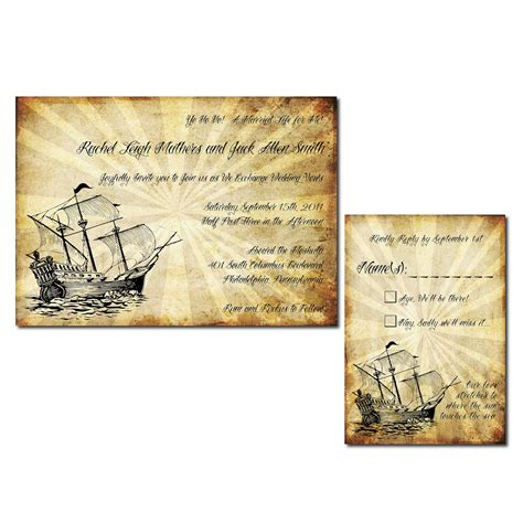 pirate themed wedding invitations vintage pirate themed wedding invitation set printable jpg onepaperheart stationary