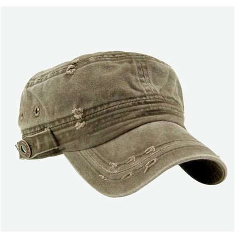 Short Vintage Cap Cut Hairstyle | vintage washed military short brim hat 104472