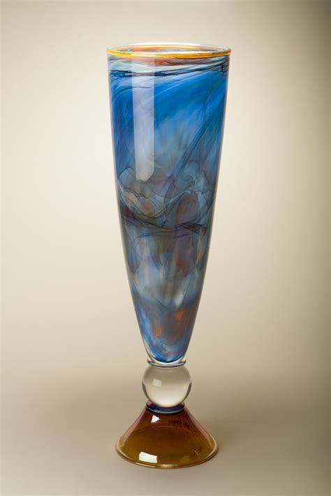 Glass Cone Vase by Gold Footed Nautical Blue Cone Vase By Bryan Goldenberg