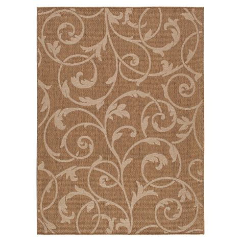 Hton Bay Outdoor Rugs Hton Bay Scroll Brown Beige 5 Ft 3 In X 7 Ft Indoor Outdoor Area Rug 1711eu57h 105n The