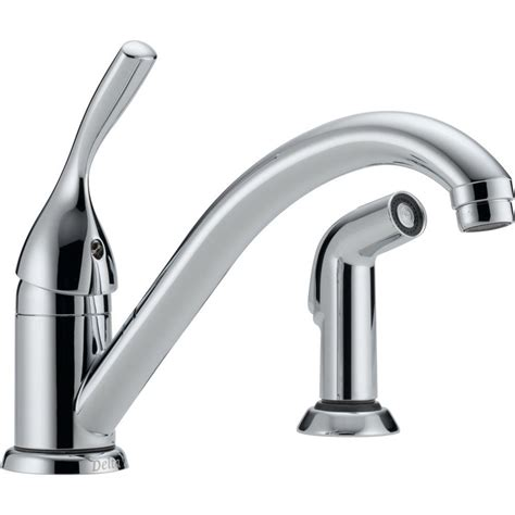 installing delta kitchen faucet delta classic single handle standard kitchen faucet with side sprayer in chrome 175 dst the