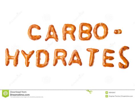 a z carbohydrates alphabet pretzel written word carbohydrates isolated stock