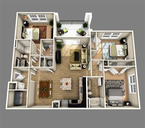 3 bedroom and 3 bathroom apartments 3d open floor plan 3 bedroom 2 bathroom google search