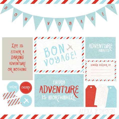 printable greeting cards bon voyage bon voyage travel adventure printable party package