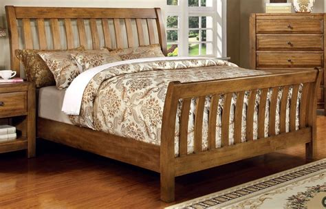 Oak Sleigh Bed Conrad Rustic Oak Cal King Sleigh Bed From Furniture Of America Cm7970ck Bed Coleman Furniture